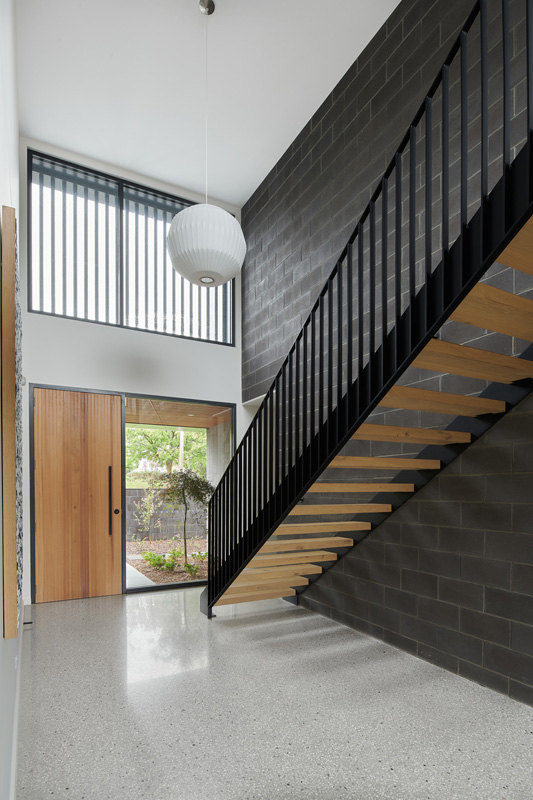 polished concrete floor stairway